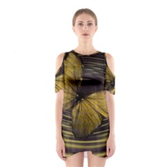 Butterfly Insect Wave Concentric Shoulder Cutout One Piece
