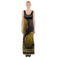 Butterfly Insect Wave Concentric Maxi Thigh Split Dress