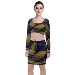 Butterfly Insect Wave Concentric Long Sleeve Crop Top & Bodycon Skirt Set