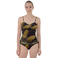Butterfly Insect Wave Concentric Sweetheart Tankini Set