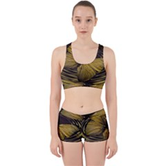 Butterfly Insect Wave Concentric Work It Out Sports Bra Set