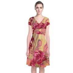 Arrangement Butterfly Aesthetics Short Sleeve Front Wrap Dress