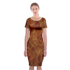 Abstract Flames Fire Hot Classic Short Sleeve Midi Dress