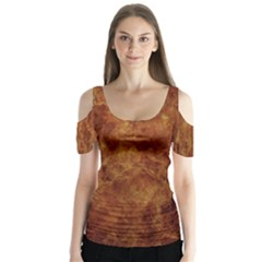 Abstract Flames Fire Hot Butterfly Sleeve Cutout Tee