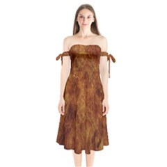 Abstract Flames Fire Hot Shoulder Tie Bardot Midi Dress