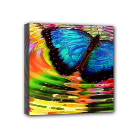 Blue Morphofalter Butterfly Insect Mini Canvas 4  X 4