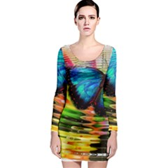 Blue Morphofalter Butterfly Insect Long Sleeve Bodycon Dress