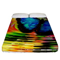 Blue Morphofalter Butterfly Insect Fitted Sheet (california King Size)