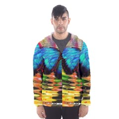 Blue Morphofalter Butterfly Insect Hooded Wind Breaker (men)