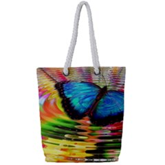 Blue Morphofalter Butterfly Insect Full Print Rope Handle Tote (small)