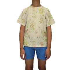Floral Wallpaper Flowers Vintage Kids  Short Sleeve Swimwear
