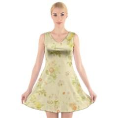 Floral Wallpaper Flowers Vintage V Neck Sleeveless Skater Dress