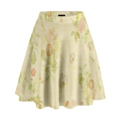 Floral Wallpaper Flowers Vintage High Waist Skirt