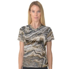 Texture Marble Abstract Pattern V Neck Sport Mesh Tee