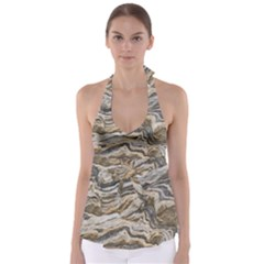 Texture Marble Abstract Pattern Babydoll Tankini Top