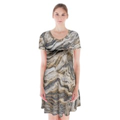 Texture Marble Abstract Pattern Short Sleeve V Neck Flare Dress