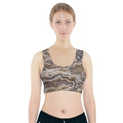 Texture Marble Abstract Pattern Sports Bra With Pocket