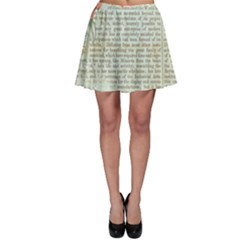 Vintage Floral Background Paper Skater Skirt