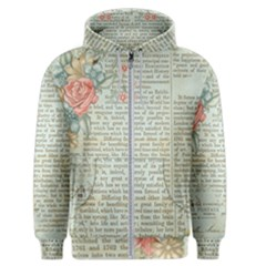 Vintage Floral Background Paper Men s Zipper Hoodie