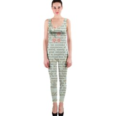Vintage Floral Background Paper Onepiece Catsuit