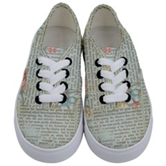 Vintage Floral Background Paper Kids  Classic Low Top Sneakers