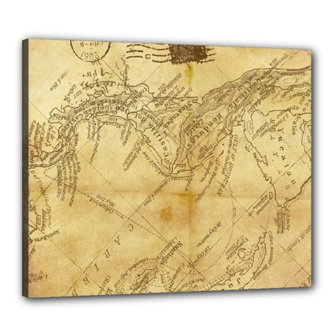 Vintage Map Background Paper Canvas 24  X 20
