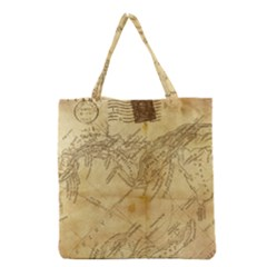 Vintage Map Background Paper Grocery Tote Bag