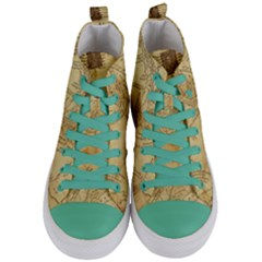 Vintage Map Background Paper Women s Mid Top Canvas Sneakers