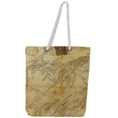 Vintage Map Background Paper Full Print Rope Handle Tote (large)