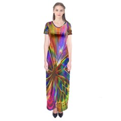 Arrangement Butterfly Aesthetics Short Sleeve Maxi Dress