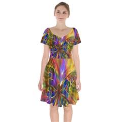 Arrangement Butterfly Aesthetics Short Sleeve Bardot Dress