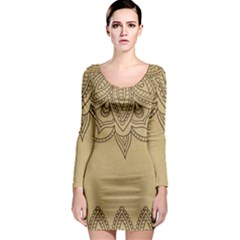 Vintage Background Paper Mandala Long Sleeve Bodycon Dress