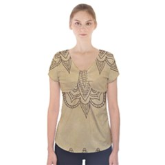 Vintage Background Paper Mandala Short Sleeve Front Detail Top