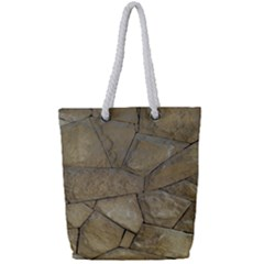 Brick Wall Stone Kennedy Full Print Rope Handle Tote (small)