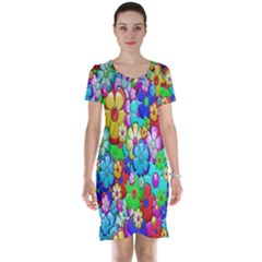 Flowers Ornament Decoration Short Sleeve Nightdress