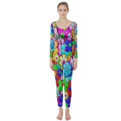 Flowers Ornament Decoration Long Sleeve Catsuit
