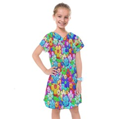 Flowers Ornament Decoration Kids  Drop Waist Dress