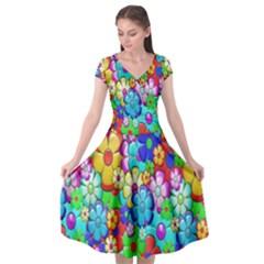Flowers Ornament Decoration Cap Sleeve Wrap Front Dress