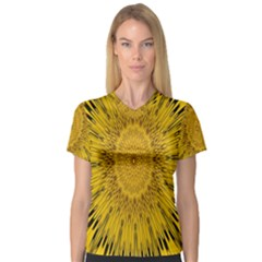 Pattern Petals Pipes Plants V Neck Sport Mesh Tee