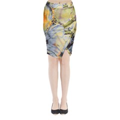 Flower Texture Pattern Fabric Midi Wrap Pencil Skirt