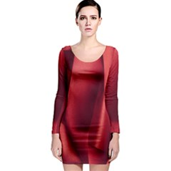 Red Fabric Textile Macro Detail Long Sleeve Bodycon Dress