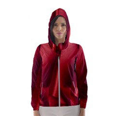 Red Fabric Textile Macro Detail Hooded Wind Breaker (women)