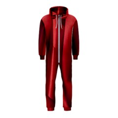 Red Fabric Textile Macro Detail Hooded Jumpsuit (kids)