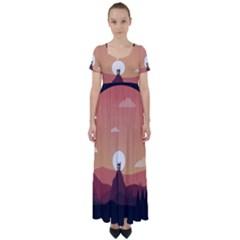 Design Art Hill Hut Landscape High Waist Short Sleeve Maxi Dress