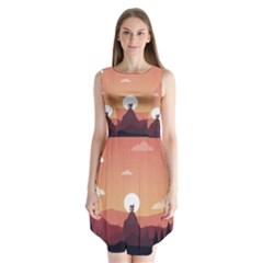Design Art Hill Hut Landscape Sleeveless Chiffon Dress