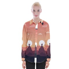 Design Art Hill Hut Landscape Womens Long Sleeve Shirt