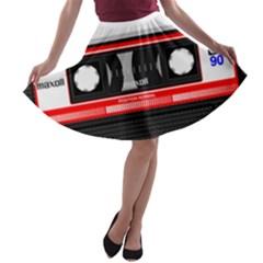 Compact Cassette Musicassette Mc A Line Skater Skirt