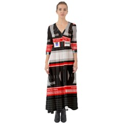 Compact Cassette Musicassette Mc Button Up Boho Maxi Dress