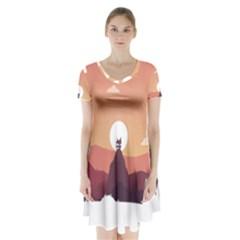 Design Art Hill Hut Landscape Short Sleeve V Neck Flare Dress