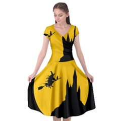 Castle Cat Evil Female Fictional Cap Sleeve Wrap Front Dress